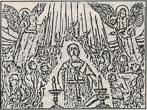 Anjos retirando almas do purgatório libertadas por sufrágio da Santa Missa.